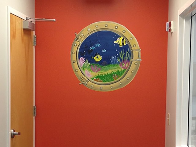 image of a hallway with a fake porthole